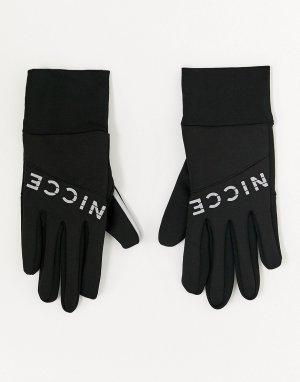 Черные перчатки со светоотражающим логотипом -Черный Nicce