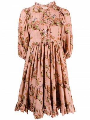 Платье с оборками и цветочным принтом byTiMo. Цвет: розовый