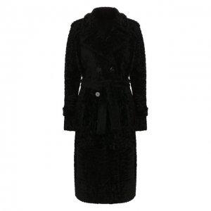 Меховое пальто DROMe. Цвет: чёрный