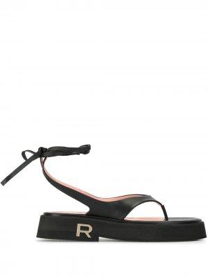 Шлепанцы на шнуровке Rochas. Цвет: черный
