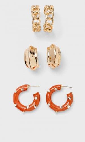 Набор Из 3 Пар Серег С Кольцами И Кристаллами Женская Коллекция Желтый 103 Stradivarius. Цвет: желтый