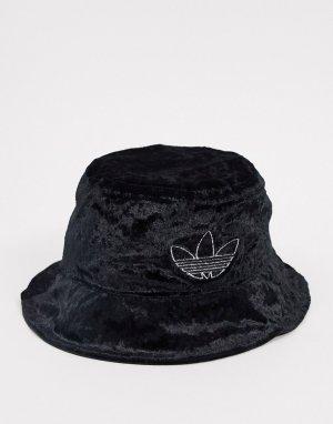 Черная бархатная панама с логотипом -Черный adidas Originals