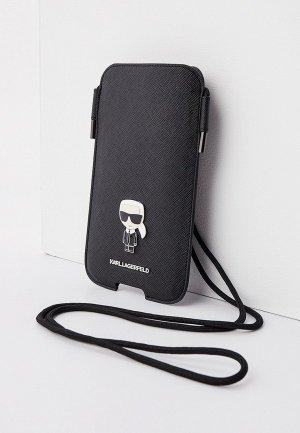 Чехол для iPhone Karl Lagerfeld Pouch, PU Saffiano Ikonik Patch (metal) Black (L size). Цвет: черный