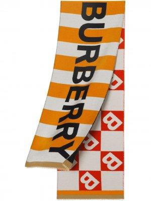 Жаккардовый шарф с логотипом Burberry Kids. Цвет: белый