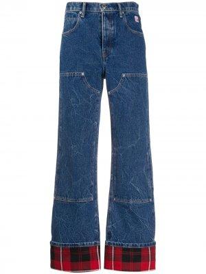 Расклешенные джинсы с подворотами в клетку Alexander Wang. Цвет: синий