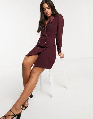 Атласное платье-смокинг ягодного цвета -Фиолетовый Morgan
