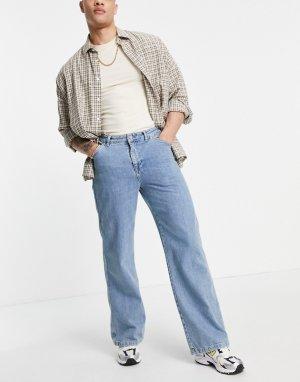 Синие свободные джинсы с широкой кромкой -Голубой ASOS DESIGN