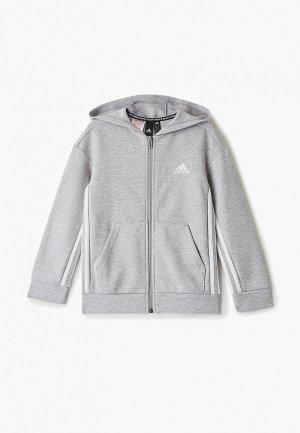 Толстовка adidas YB MH 3S FZ. Цвет: серый