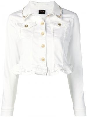 Укороченная джинсовая куртка Twin-Set. Цвет: белый