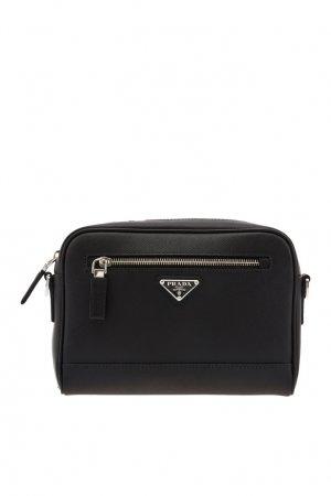 Черная борсетка с треугольным логотипом Prada. Цвет: черный