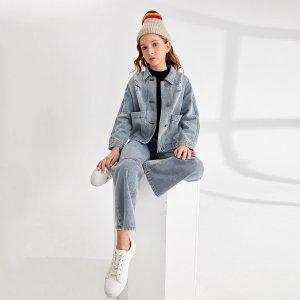 Рваная джинсовая куртка с заплатками для девочек карманом SHEIN. Цвет: легко-синий