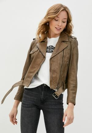 Куртка кожаная Pepe Jeans JULIETTE. Цвет: бежевый