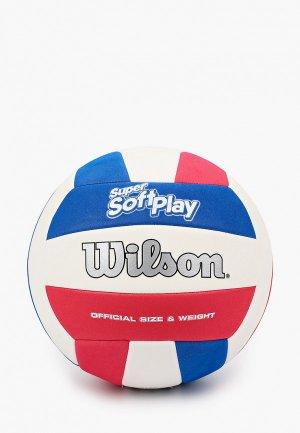 Мяч волейбольный Wilson SUPER SOFT PLAY VB WHRDBLUE. Цвет: разноцветный