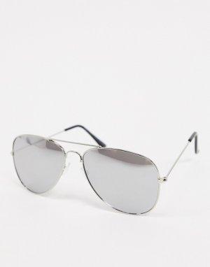 Серебристые солнцезащитные очки-авиаторы -Серебристый SVNX