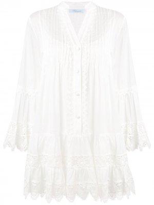 Расклешенное платье с длинными рукавами Blumarine. Цвет: белый