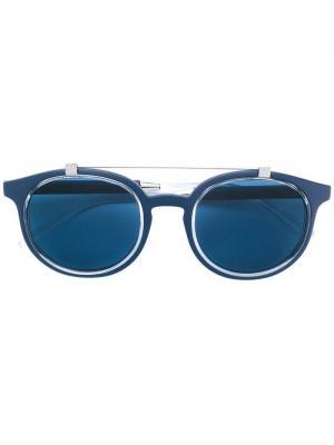 Солнцезащитные очки в круглой оправе Dolce & Gabbana Eyewear. Цвет: синий
