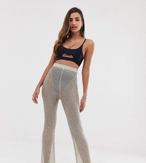 Золотистые сетчатые пляжные брюки с эффектом металлик -Золотой South Beach