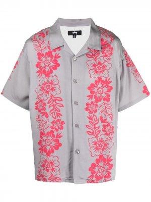Рубашка с короткими рукавами и принтом Stussy. Цвет: серый