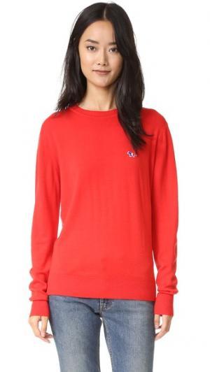 Пуловер с округлым вырезом Maison Kitsune. Цвет: красный