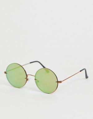 Круглые солнцезащитные очки без оправы -Серебряный River Island