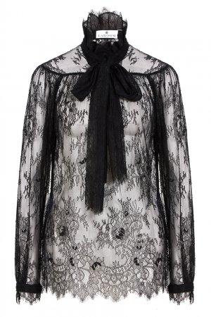 Блузка из черного кружева LAROOM. Цвет: черный