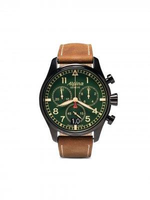 Наручные часы Startimer Pilot Chronograph 44 мм Alpina. Цвет: green