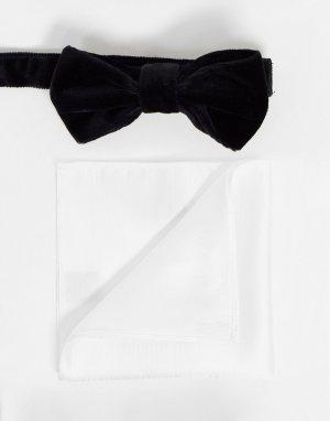 Черный бархатный галстук-бабочка и белый платок для пиджака -Черный цвет Devils Advocate