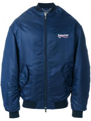 Куртка-бомбер с логотипом Balenciaga. Цвет: синий