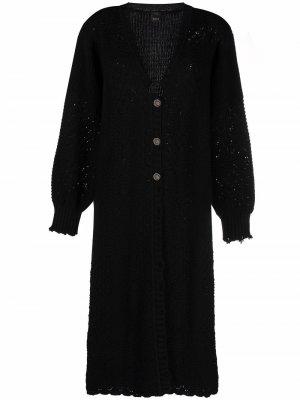Crochet-knit maxi cardi-coat Pinko. Цвет: черный