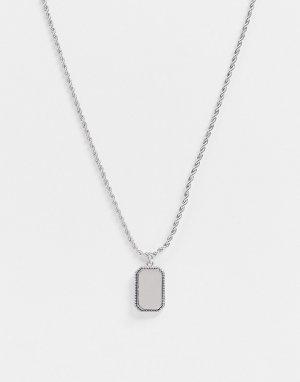 Серебристая цепочка с подвеской в виде жетона -Серебристый Topman
