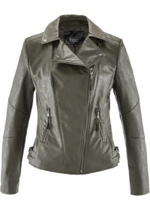Куртка-косуха из искусственной кожи (темно-оливковый) bonprix. Цвет: темно-оливковый
