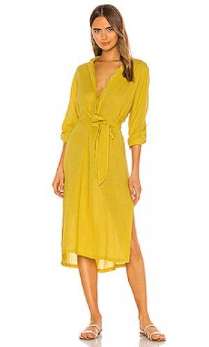 Платье миди oku MIKOH. Цвет: желтый