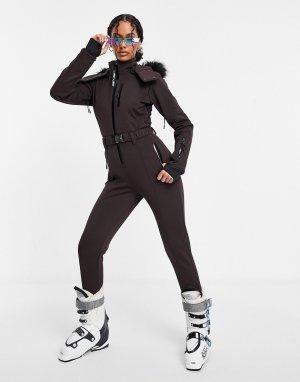 Приталенный лыжный комбинезон с отделкой искусственным мехом на капюшоне и поясом ski-Коричневый ASOS 4505