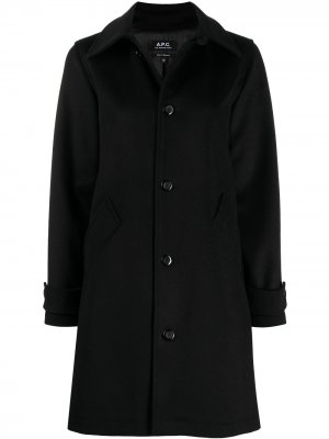 Однобортное пальто A.P.C.. Цвет: черный