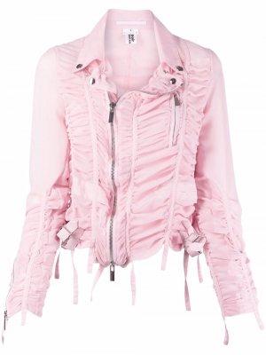 Байкерская куртка со сборками Comme Des Garçons Noir Kei Ninomiya. Цвет: розовый