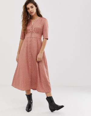Платье миди на пуговицах Gala BA&SH. Цвет: розовый