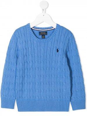 Джемпер фактурной вязки с круглым вырезом Ralph Lauren Kids. Цвет: синий