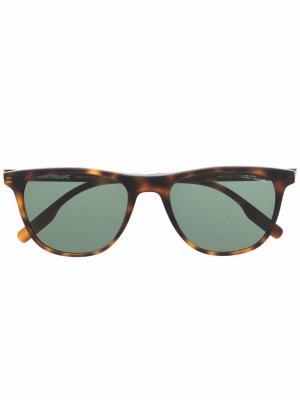 Солнцезащитные очки черепаховой расцветки Montblanc. Цвет: коричневый