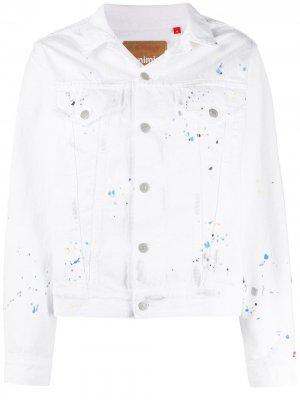 Джинсовая куртка с эффектом разбрызганной краски Denimist. Цвет: белый