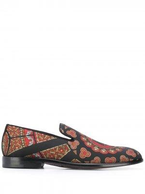 Слиперы с принтом Dolce & Gabbana. Цвет: черный