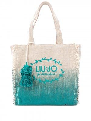 Пляжная сумка-тоут с логотипом LIU JO. Цвет: нейтральные цвета