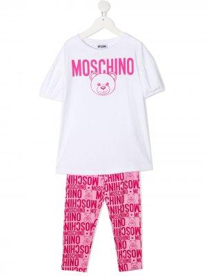 Костюм-двойка с логотипом Moschino Kids. Цвет: белый
