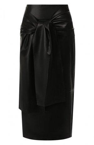 Кожаная юбка Joseph. Цвет: черный