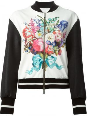 Куртка-бомбер с цветочным рисунком Emanuel Ungaro. Цвет: белый
