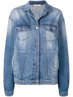 Джинсовая куртка с принтом Amen. Цвет: синий