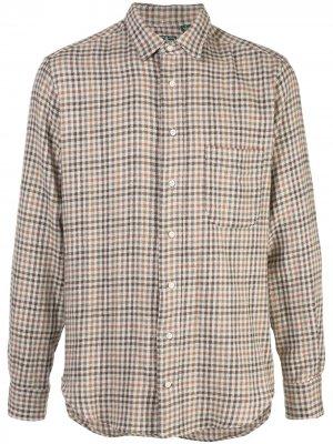 Клетчатая рубашка свободного кроя Gitman Vintage. Цвет: коричневый
