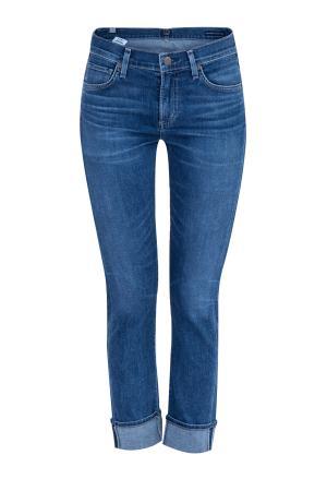 Укороченные джинсы slim Jazmin Ancle с отворотами CITIZENS OF HUMANITY. Цвет: синий