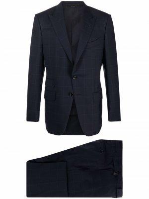 Клетчатый костюм с однобортным пиджаком TOM FORD. Цвет: синий