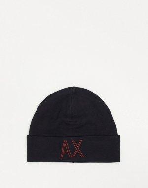 Черная шапка-бини с логотипом -Черный Armani Exchange