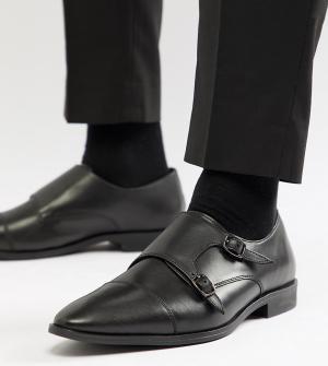 Черные кожаные монки для широкой стопы -Черный Frank Wright